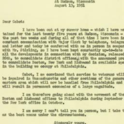 Letter : 1951 August 13