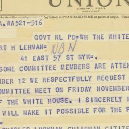 Telegram : 1947 November 5