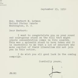 Letter: 1950 September 15