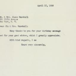 Letter : 1958 April 17