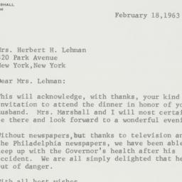 Letter: 1963 February 18