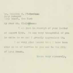 Letter : 1951 August 16