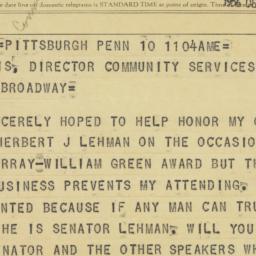 Telegram : 1956 December 10