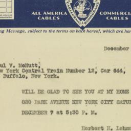 Telegram : 1929 December 6