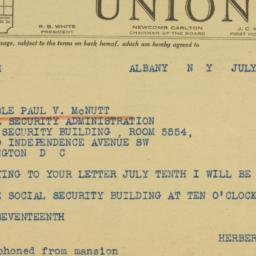 Telegram: 1942 July 15