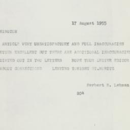 Telegram : 1955 August 17