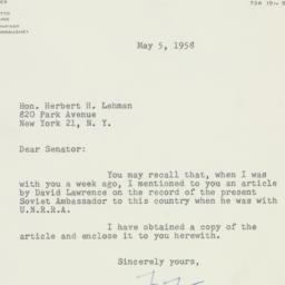 Letter : 1958 May 5