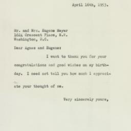 Letter: 1953 April 16