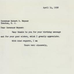 Letter : 1958 April 14