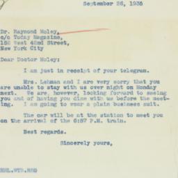 Letter : 1935 September 26