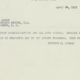 Telegram: 1951 April 24