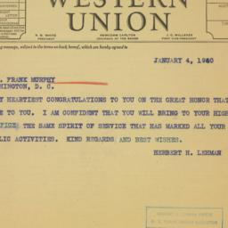 Telegram : 1940 January 4