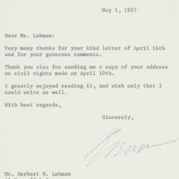 Letter : 1957 May 1