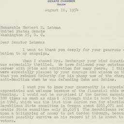Letter: 1954 August 10