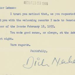 Letter: 1955 February 22