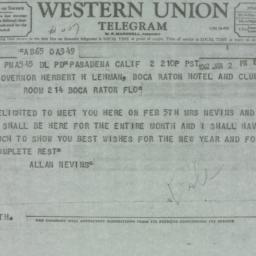 Telegram: 1962 January 2