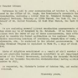 Letter: 1951 October 18