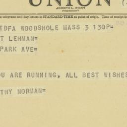 Telegram : 1949 September 3