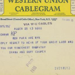 Telegram : 1944 April 13