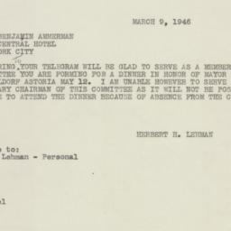 Telegram : 1946 March 6