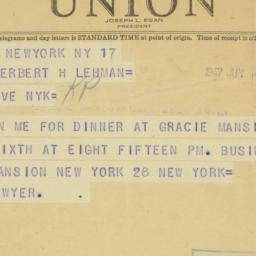 Telegram : 1947 June 17