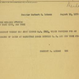 Telegram : 1950 August 10