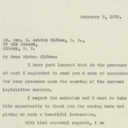 Letter : 1930 February 5
