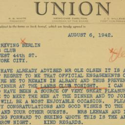 Telegram : 1942 August 6