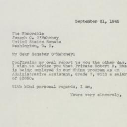 Letter : 1945 September 21