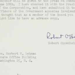 Letter: 1952 June 5
