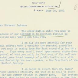 Letter : 1931 July 10