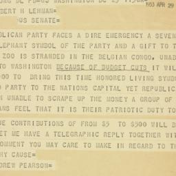 Telegram : 1953 April 29
