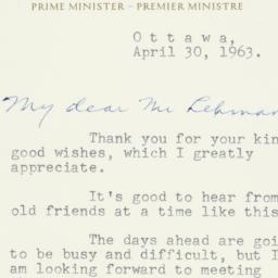 Letter : 1963 April 30