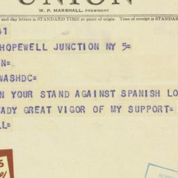 Telegram : 1950 August 5
