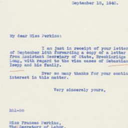 Letter: 1940 September 18