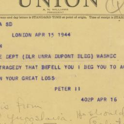 Telegram : 1944 April 15