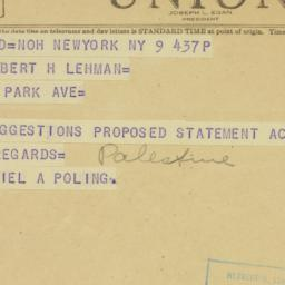 Telegram : 1948 March 9