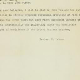 Telegram : 1948 March 9