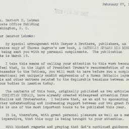 Letter : 1952 February 27