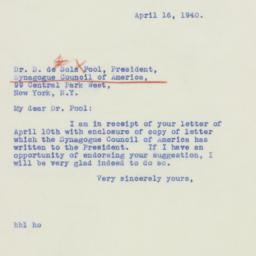 Letter : 1940 April 16