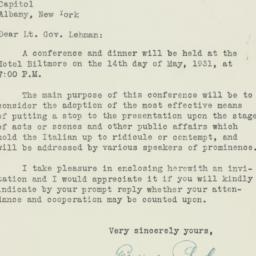 Letter : 1931 April 29