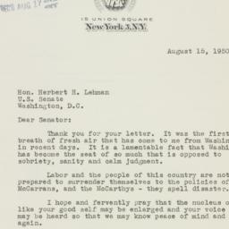 Letter : 1950 August 15