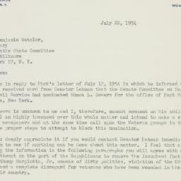 Letter : 1954 July 22