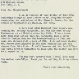 Letter: 1954 July 28