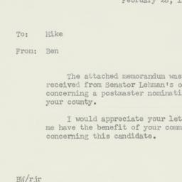 Memorandum : 1956 February 28