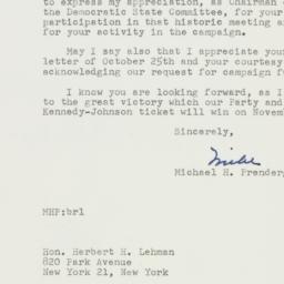 Letter: 1960 October 28