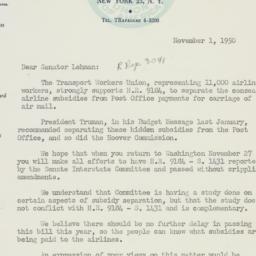 Letter : 1950 November 1