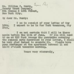 Letter : 1931 May 22