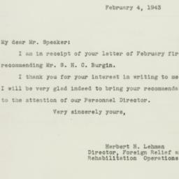 Letter : 1943 February 4