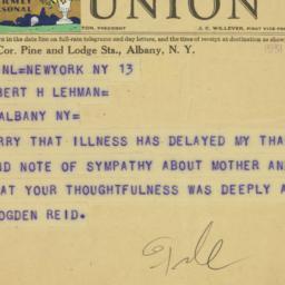 Telegram : 1931 May 14